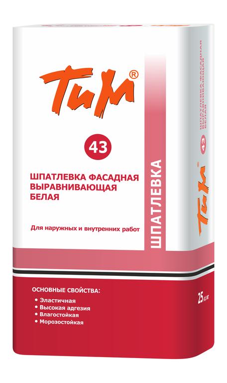 Шпаклевка фасадная выравнивающая белая ТиМ №43