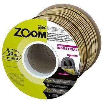 Уплотнитель самоклеящийся промышленный ZOOM Industrial D-профиль 14х12 черн