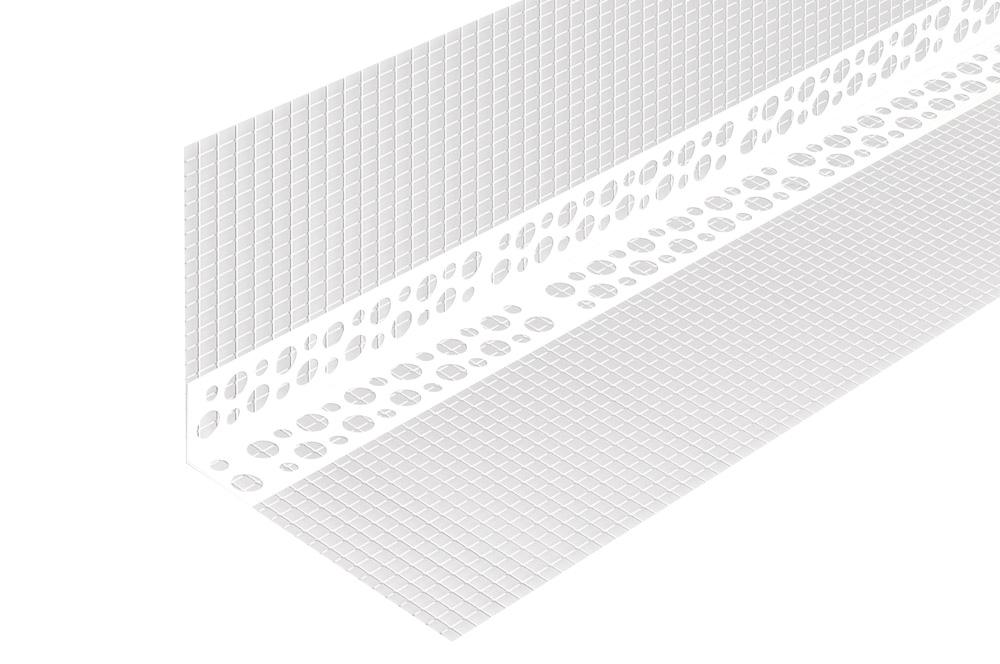 Профиль угловой пластик. PL  L=2,5м с сеткой 10/15